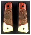 GG1911RWIV1 1911 Full Size Double Diamond Checkered Rosewood Grips w/Acrylic Ivory Accent