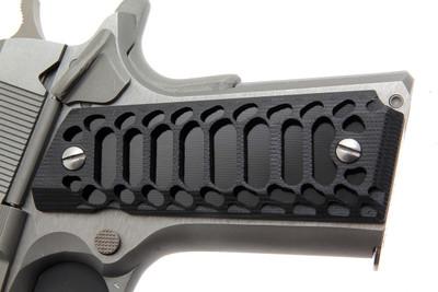 GG1911SKELG10 1911 Colt Grips Kimber RIA S&W Clones G10 GZS-COBRA skeletonized w/ black insert