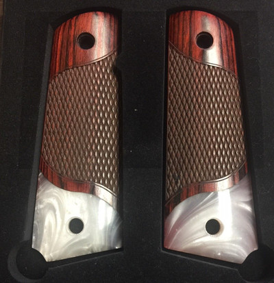 GG1911RPW1 1911 Full Size Checkered Rosewood Grips w/Acrylic Pearl Accent