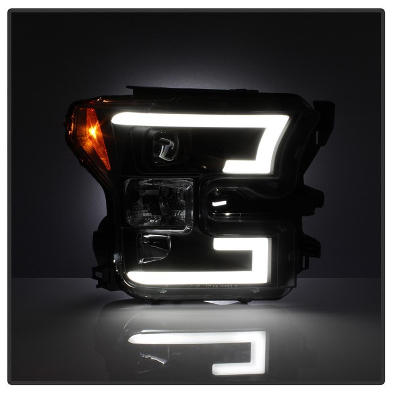 Spyder   Ford F  Led Light Bar Projector Headlights Black