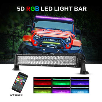 """AuxBeam V-Series 22"""" 120W Combo Curved RGB LED Light Bar (5D Projector Lens)"""