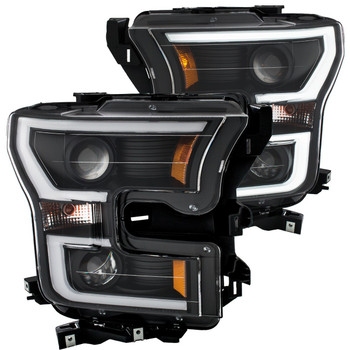 2015-2017 Ford F-150 Anzo LED Outline Projection Headlights (Black Housings)