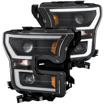2015-2017 Ford F-150 Anzo Switchback Outline Projection Headlights (Black Housings)