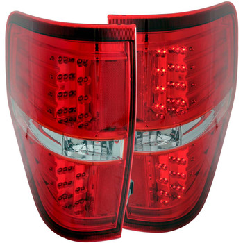 Anzo 2009-2014 Ford F-150 LED Tail Lights (Red/Clear)