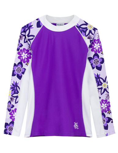 Girls Tuga UV Long Sleeve shoreline swim top agate