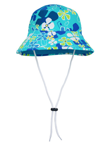 Sun busters Girls UV reversible bucket hat retro ocean