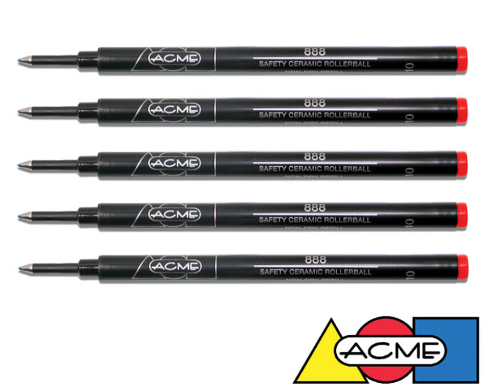 ACME Standard Rollerball Refills - Red 5 Pack