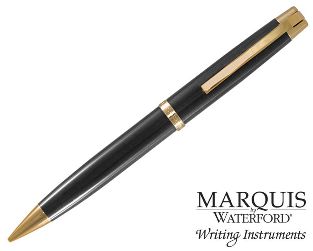 Waterford Marquis Metro Black / Gold Plate Trim Ballpoint Pen