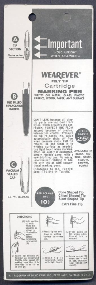 Wearever Felt Tip Cartridge Marking Pen Black