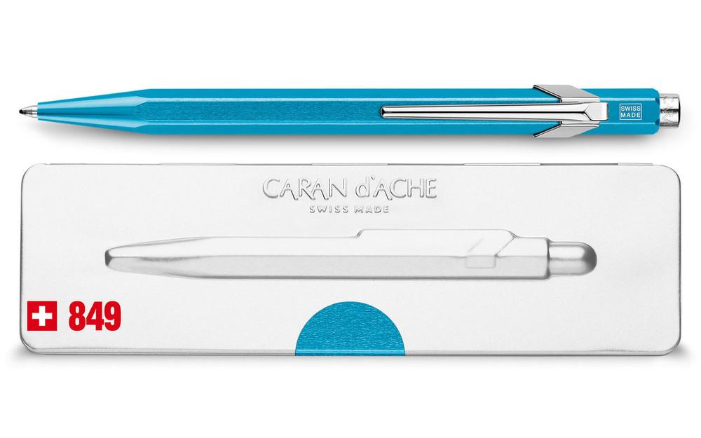 Caran d'Ache 849 POPLINE Metal-X Turquoise Ballpoint Pen