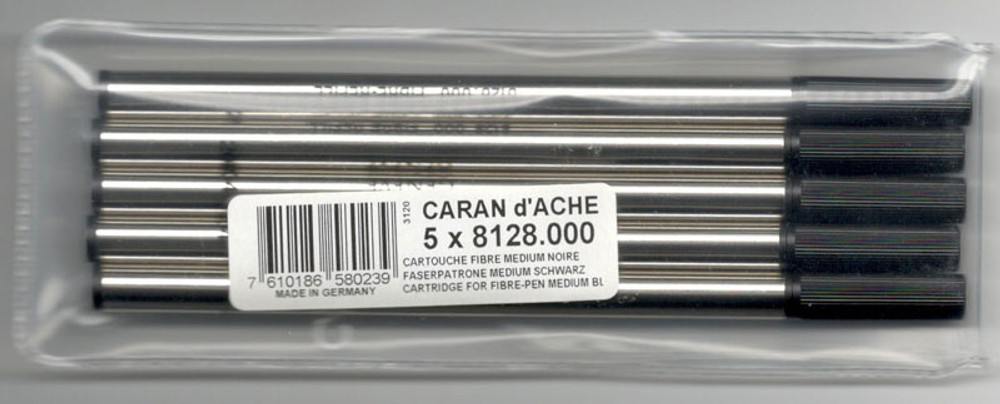 Caran d'Ache Black Fibre Ink Cartridge Medium Point 5 Pack
