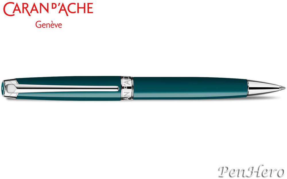 Caran d'Ache Leman Green Amazon Silver-Plate Trim Ballpoint Pen