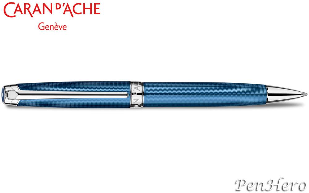 Caran d'Ache Leman Grand Bleu Silver-Plate Trim Ballpoint Pen