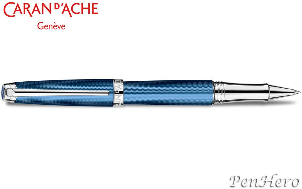 Caran d'Ache Leman Grand Bleu Silver-Plate Trim Rollerball Pen