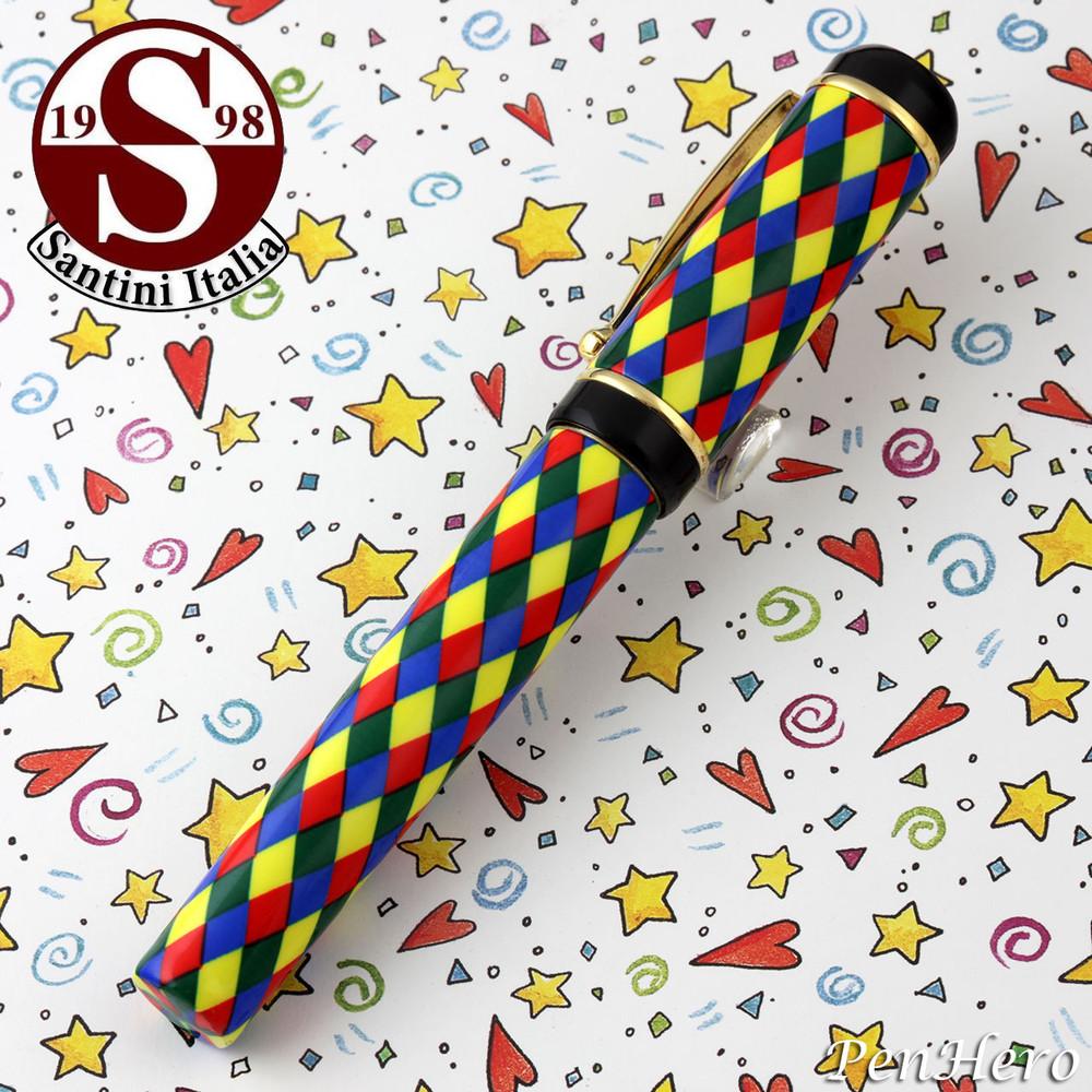 Santini Italia Arlecchino Blue Red Yellow Green Harlequin Rollerball Pen