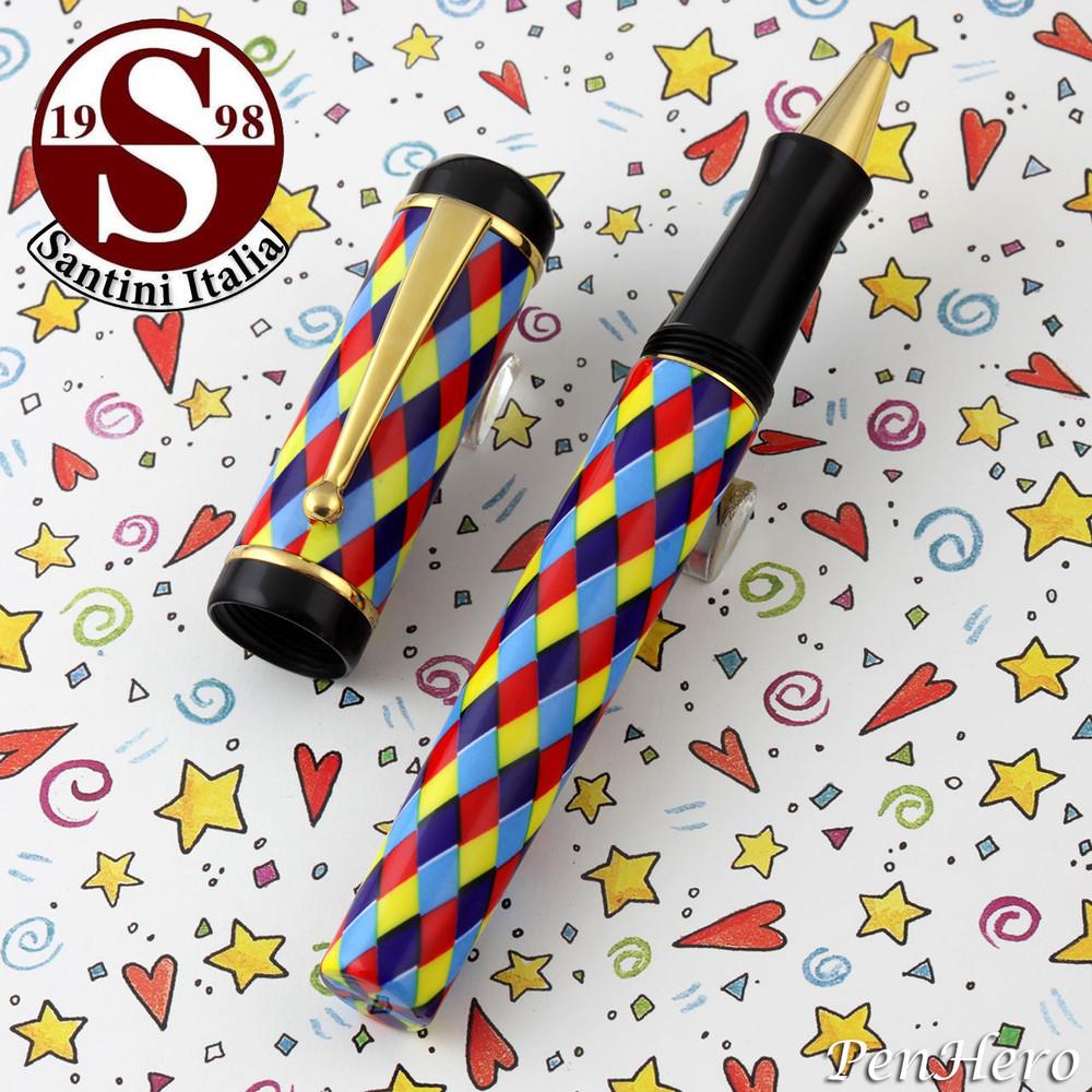 Santini Italia Arlecchino Blue Red Yellow Harlequin Rollerball Pen