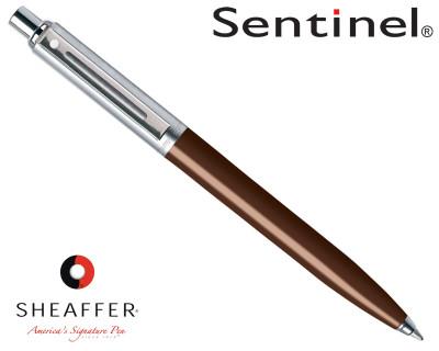 Sheaffer Sentinel Brushed Chrome & Coffee Bean C/T Ballpoint Pen