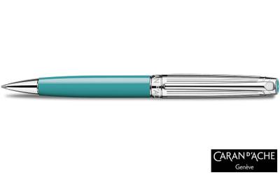 Caran d'Ache Leman Bicolor Turquoise Silver-Plate Trim Ballpoint Pen