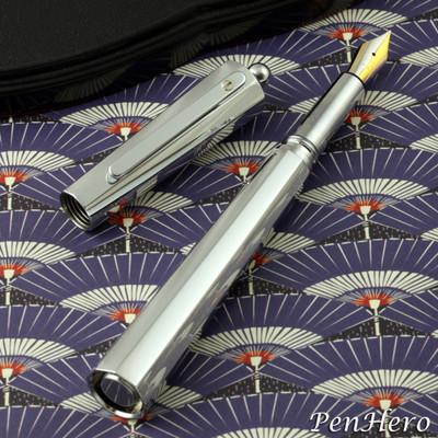 Giuliano Mazzuoli Moka Polished Chrome 3 in 1 Fountain Pen