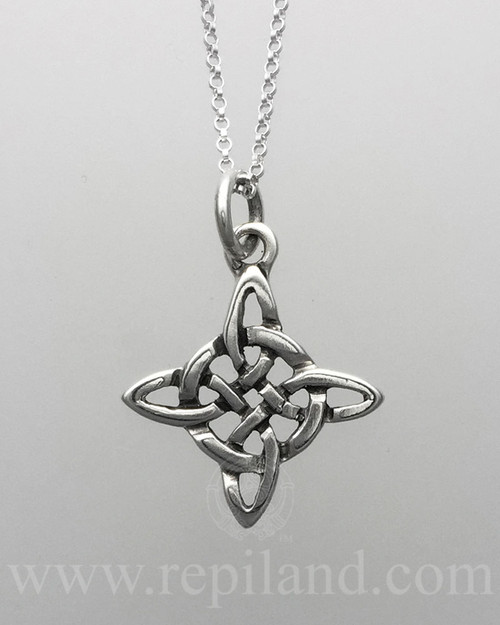 Snowflake inspired even cross pendant with intricate knotwork.