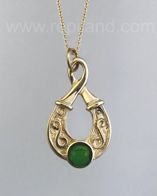 Teardrop shaped pendant with an 8mm gemstone.