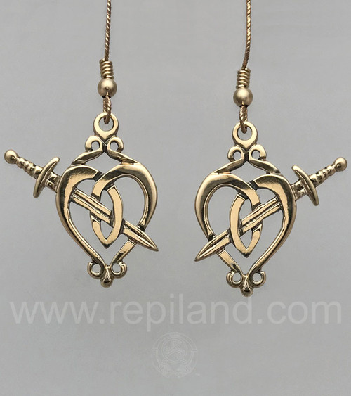 Luckenboothe inspired earrings, heart shape crossed by sword and decorative scrolls at top.