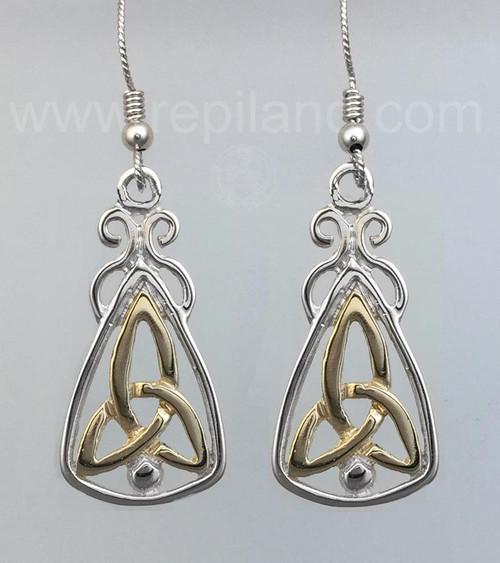 Mairsinn Earrings, trinity knot and bead in large triangular drop.