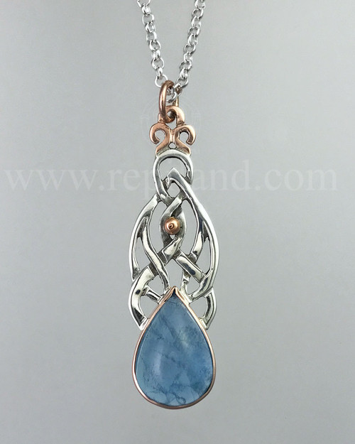 Sterling & Rose gold pendant with Aquamarine.