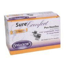 Sure Comfort Pen Needles 31G 3/16 inch. - Box of 100