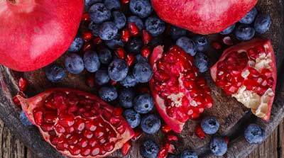 Pomegranates and Blueberries