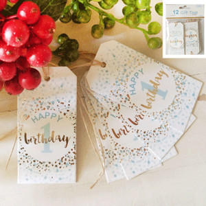 *12pk 1st Birthday Gift Tags in Foiled Blue