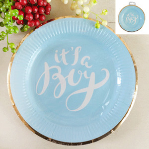 *12pk 23cm Baby Shower Paper Plates in Foiled Blue