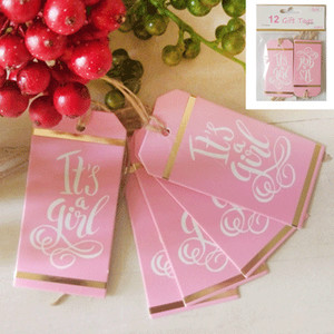 *12pk Baby Shower Gift Tags in Foiled Pink