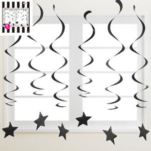 * 6 Plastic Swirl Hanging Decorations w/Star - Black