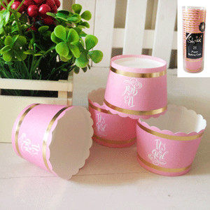 *25pk Baby Shower Paper Baking Cups in Foiled Pink