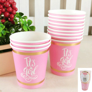 *12pk 200ml Baby Shower Paper Cups in Foiled Pink