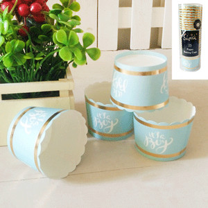 *25pk Baby Shower Paper Baking Cups in Foiled Blue