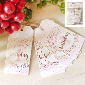 *12pk 1st Birthday Gift Tags in Foiled Pink
