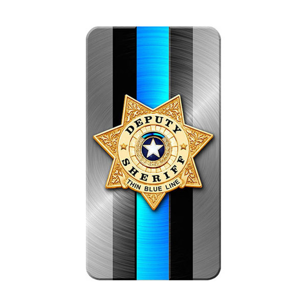 iPhone SubliCOVER Full Color Case (SHERIFF Blue Line Design) (WHITE)