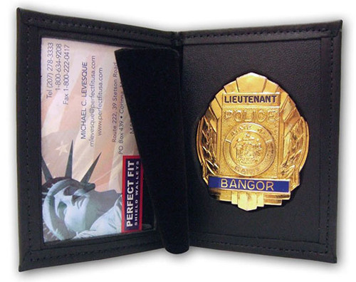 Perfect Fit Dress Leather Badge Case w/ID Holder - Custom Cutout