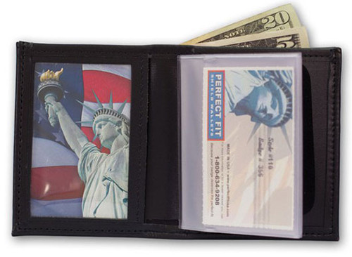 Perfect Fit Bifold Badge Wallet w/ID and Credit Card (Custom Cutout)