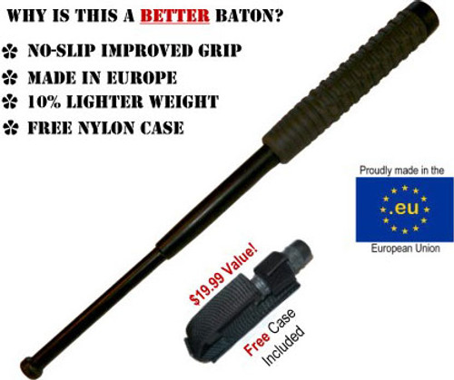 "16"" Collapsible Baton w/ Hard Case - BLACK FINISH (MADE IN EUROPE)"