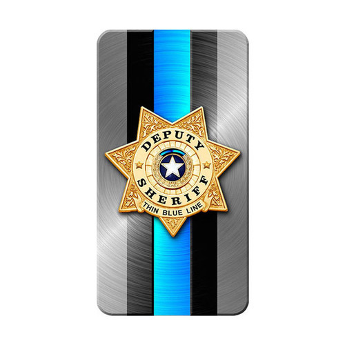 iPhone SubliCOVER Full Color Case (SHERIFF Blue Line Design) (WHITE)