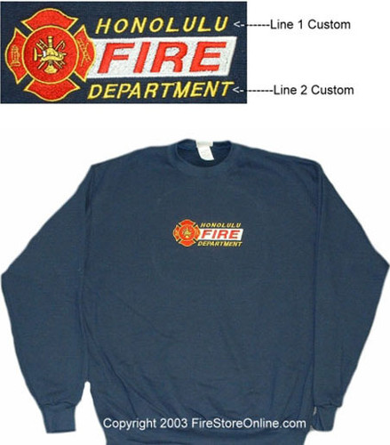 Fire Dept 2 Line Embroidered Sweatshirt - Build Your Own Online