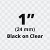 """1"""" black on clear tx tape"""