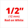 "1/2"" Red on White ptouch label"