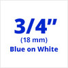 "3/4"" Blue on White ptouch label"
