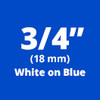"3/4"" White on Blue ptouch label"