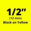"1/2"" Black on Yellow ptouch labels"