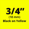 "3/4"" Black on Yellow ptouch label"